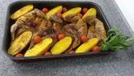 دجاج مشوي مع البطاطس بالزعفران