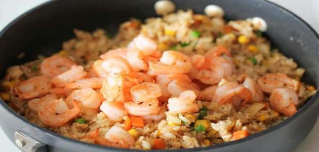 طريقة عمل الروبيان المجمد مع الأرز